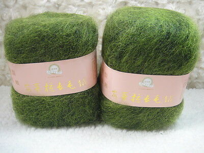 4*50g Skeins Luxury Angola Mohair Cashmere Wool Yarn Lot;Fine;200g;grass green