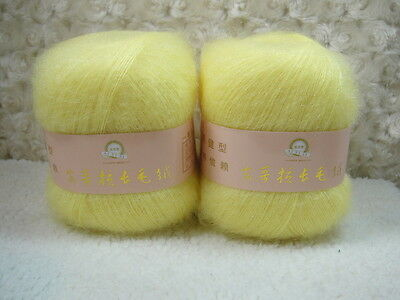 4*50g Skeins Luxury Angola Mohair Cashmere Wool  Yarn Lot;Fine;200g;light yellow
