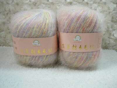 4*50g Skeins Luxury Angola Mohair Cashmere Wool  Yarn Lot;Fine;200g;colorful