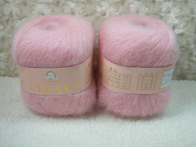 4*50g Skeins Luxury Angola Mohair Cashmere Wool Knitting Yarn Lot;Fine;200g;pink