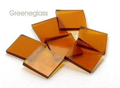Amber Cathedral Fusible 96 coe Mosaic Glass Tile Cut to Order Shapes Medium Pack