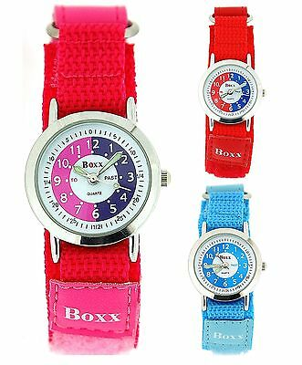Boxx Time Teacher Kids Girls Pink Red Blue Fabric Easy Fasten Sports Watch
