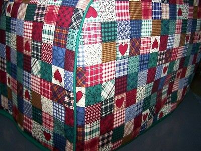 Homespun Patchwork Hearts Quilted Fabric 2-Slice or 4-Slice Toaster Cover NEW