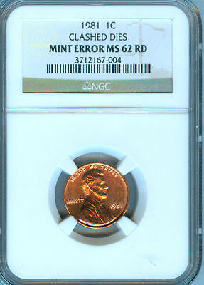 1981-S Error Lincoln Penny Ngc Ms-62 Rd.clashed Dies Mint Error