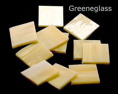 Pale Amber Honey & Cream Mosaic Glass Tile Cut to Order Shapes * Medium Package
