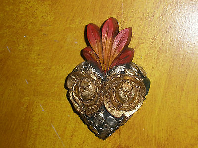 Carved Roses Sacred Heart #1-Milagros-Mexican Folk Art-3.5x5-Miracles-Wood-Rose