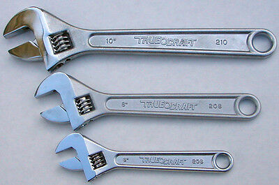 "True Craft Crescent Type Adjustable Wrench Set of 3pcs  6"", 8"" 10"" Made in Japan"