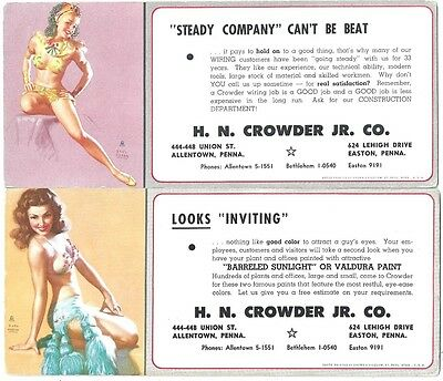 4 Different Earl Moran Pin-Up Blotters, H N Crowder Co  Allentown PA    1950s