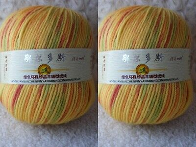 2*100g Soft Skeins Cashmere Wool Knitting Yarn Lot;Worsted;200g;Yellow Mixed;908