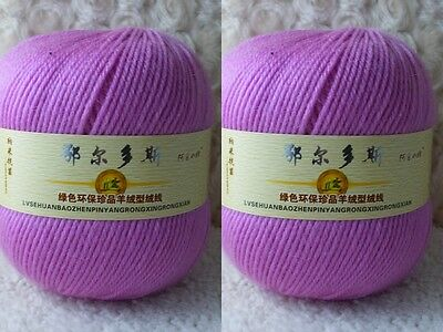 2*100g Soft Skeins Cashmere Wool Knitting Yarn Lot;Worsted;200g;Purple Red217