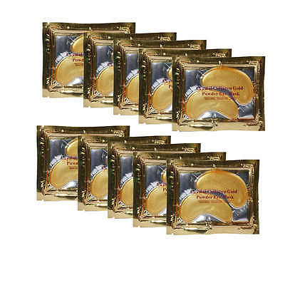 New 10 Pairs Crystal Gold Collagen Eye Gel Mask for Dark Circles, Bags, Wrinkles