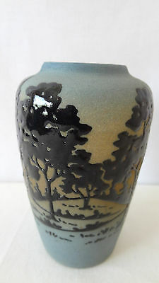 """Brush McCoy Pottery 1920's Rare Jetwood 4"""" 052 Squeeze Bag Cabinet Vase #F526"""