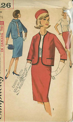 Vintage Day Time Misses Suit Ensemble Sewing Pattern S5126 Size 12.5