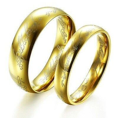 JZ32  Fashion 18K Gold-plated Titanium Steel Ring Wedding Lover gift