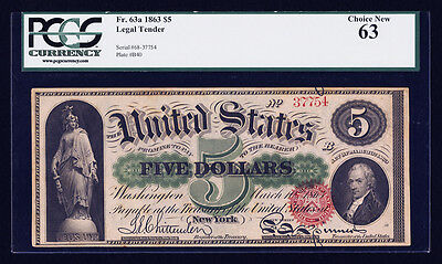 Fr 63a 1863 $5 Legal Tender Red Seal Choice New 63