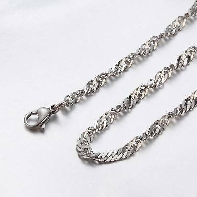 """2.5 mm 10""""-100"""" Silver Stainless Steel Twisted Singapore Necklace Chain Sb64"""