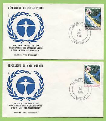 Ivory Coast 1982 U.N. Environmental Programme two First Day Covers
