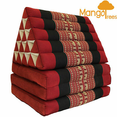 Jumbo Size Thai Triangle Cushion Fold Out Mattress Day Bed THREE FOLDS Red Ele
