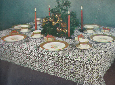 Vintage Crochet PATTERN Christmas Round Snowflake Design Motif Block Tablecloth