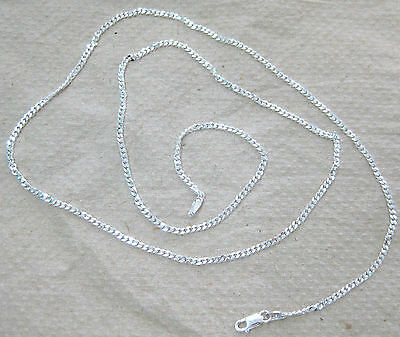 MADE IN ITALY - REAL 925 STERLING SILVER 2mm CURB CHAIN 35cm to 100cm - BOY GIRL