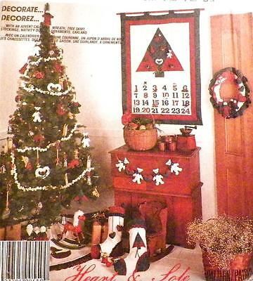 Christmas Crafts Sewing Pattern Advent Calendar Tree Skirt Stocking Ornament NOS