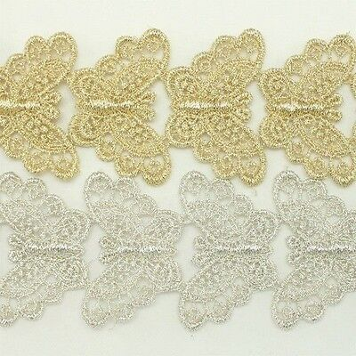 Metallic Venise Trim Lace #130- Thread Embroidery Crafts Sewing Applique Motif