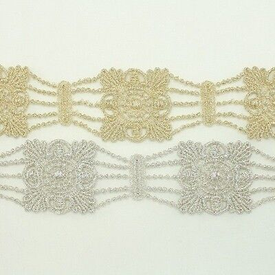 Metallic Venise Trim Lace #131- Thread Embroidery Crafts Sewing Applique Motif
