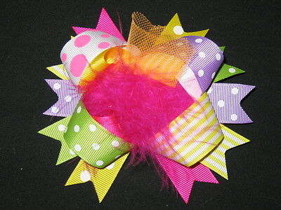 """NEW /""""BLACK PINK ZEBRA/"""" Fur Hairbow Alligator Clips Girls Ribbon Bows 5.5 Inches"""