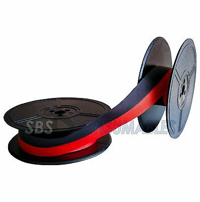 Typewriter Ink Ribbon Facit 733 Twin Spool Black / Red 1001Fn