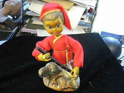 "Vintage TILSO Lute Playing Pixie 7-1/4"" Plastic Figurine"