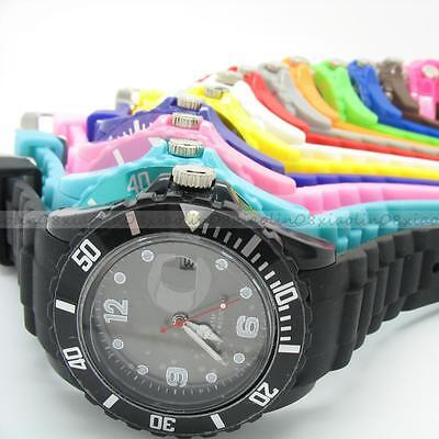 FASHION GIFT Wrist with DATE Unisex Watch Silicone Jelly Candy Sport Dial Quartz