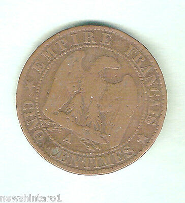 #d63.  France 1965 Napoleon Iii 5 Centime Coin