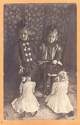 Real Photo Postcard RPPC - Two Girls with Large Beautiful Dolls