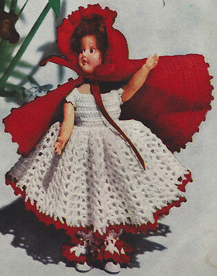 Vintage Crochet Pattern To Make Baby Doll Dress Hat Shoes 15 Inch