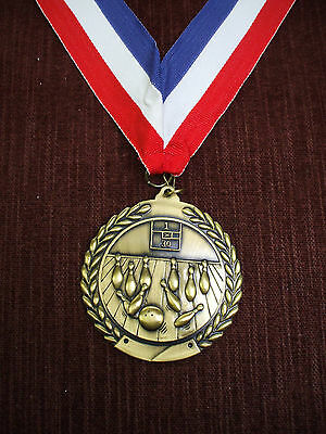 """large gold Bowling medal  2 3/4"""" diameter ball and pins party favor"""