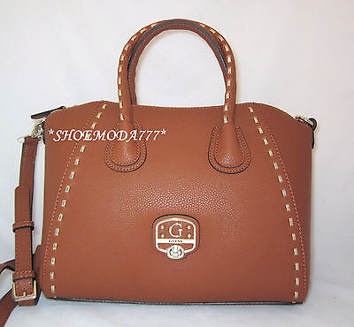 GUESS Garland Satchel Shoulder Bag Purse Handbag Tote Cognac Black