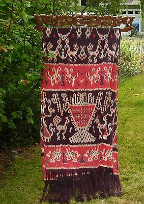 Vintage Sumba Ikat Blanket With Wooden Carving