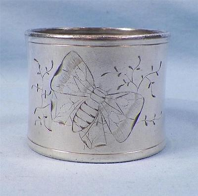 Antique Silverplate Napkin Ring Butterfly Bright Cut Victorian Silver Plate NICE