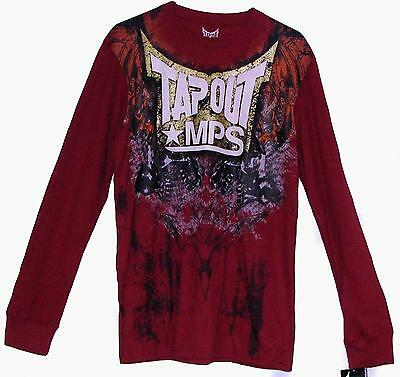 TAPOUT MPS MMA UFC LONG SLEEVES DARK RED GOLD TRIM THERMAL T-SHIRT NWT JON JONES
