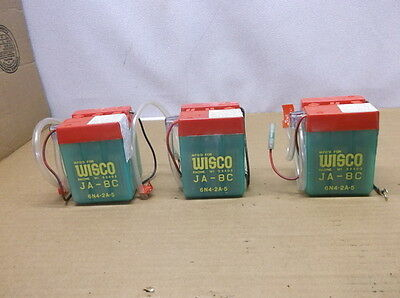Lot of 3 NOS Wisco 6N4-2A-5 Batteries for 1970's Vintage Kawasaki Motorcycles