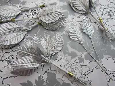 """144 Poly Silk Leaf 4"""" Wire Stem Artificial Floral Craft/Christmas/bow H71-Silver"""