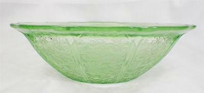 Cherry Blossom Green Depression Bowl Large Berry 8.5 in Vintage NICE COND