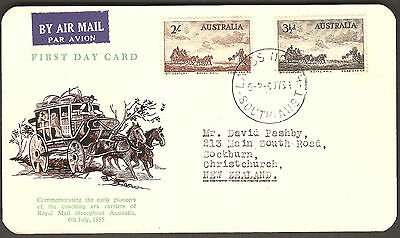 1955 Australia Cobb & Co Horse & Stagecoach Royal Mail WCS LARGS NORTH FDC Card