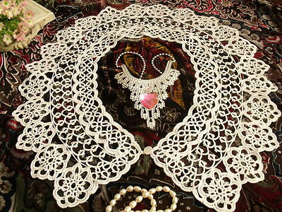 Antique Victorian Dream~ Tatted Dress Lace Collar Trim White~Vtg Necklace Charm