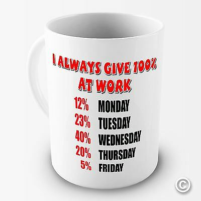 I Always Give 100% At Work Novelty Funny Coffee Mug