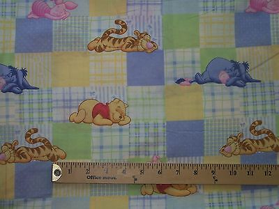 Pastel Plaid with Winnie the Pooh, Eyore, Tigger and Piglet - 1 yard