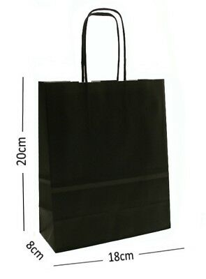 Black Birthday Party Gift Bags - Kraft Paper Loot Gift Bag With Handles *