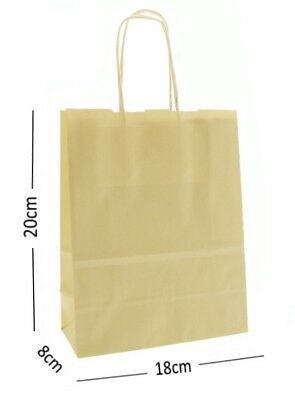 Ivory Cream Birthday Party Gift Bags - Kraft Paper Loot Gift Bag With Handles *