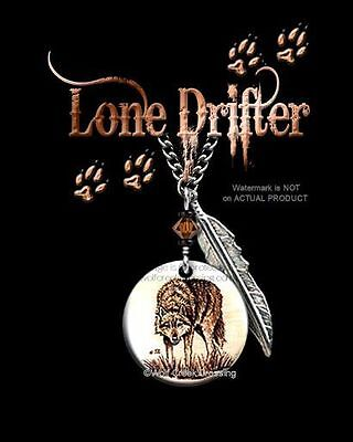 """LONE DRIFTER WILD WOLF NECKLACE for MALE or FEMALE - 24"""" ART WOLVES GIFT SALE C*"""