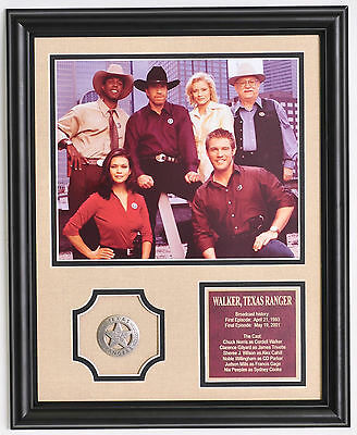Walker Texas Ranger Chuck Norris full cast photo with badge framed and matted